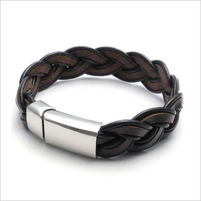Brown Leather Mens Bracelet Bangle