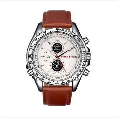 Men's Brown Leather Quartz Watch