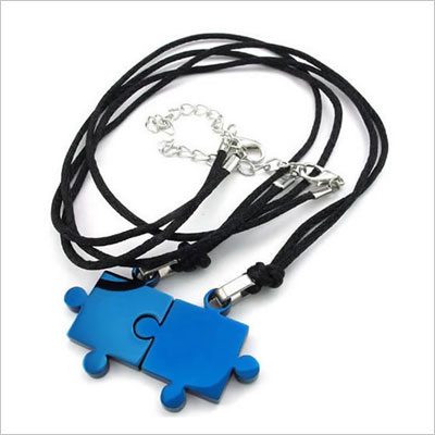 Mens & Womens Couples Stainless Steel Puzzle Pendant