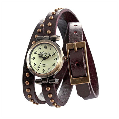 Vintage Leather Women Slim Bracelet Quartz Watch