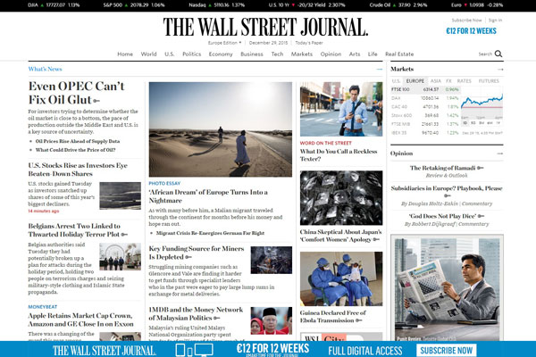The Wall Street Journal Business Website