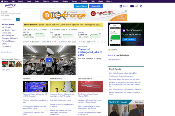 Yahoo Finance Business Website