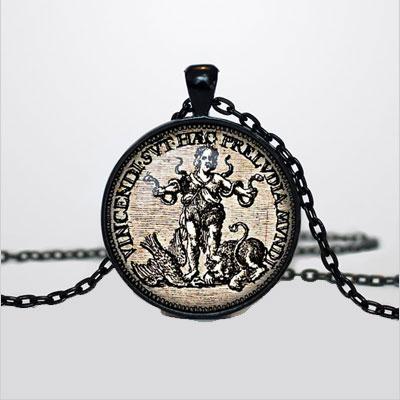 Lucky coin pendant vintage coin necklace