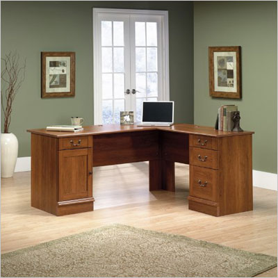 Sauder Office Furniture Shaker Cherry L-Shaped Desk
