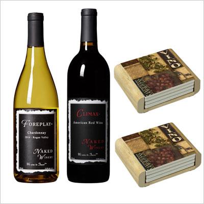 Naked Winery Wine Bottles Wine Coasters