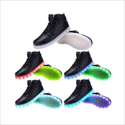 Odema Women Men High Top USB Charging LED Shoes Flashing Sneakers