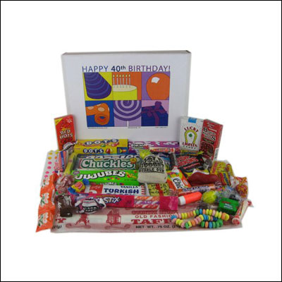 40th Birthday Gift Basket Box Of Retro Candy