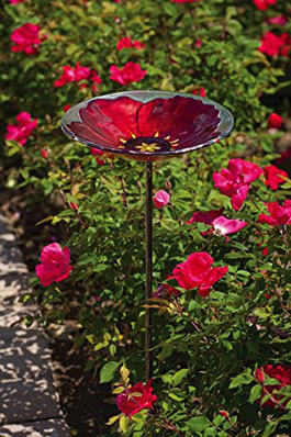 Ruby Pansy Glass Birdbath