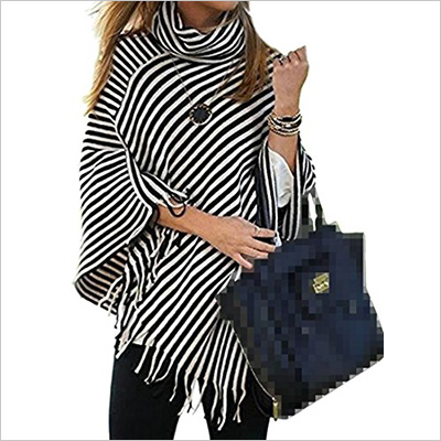 Cromoncent Womens Turtle Neck striped cape cloak tassel pullover sweater