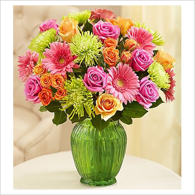 Vibrant Blooms bouquet with green vase