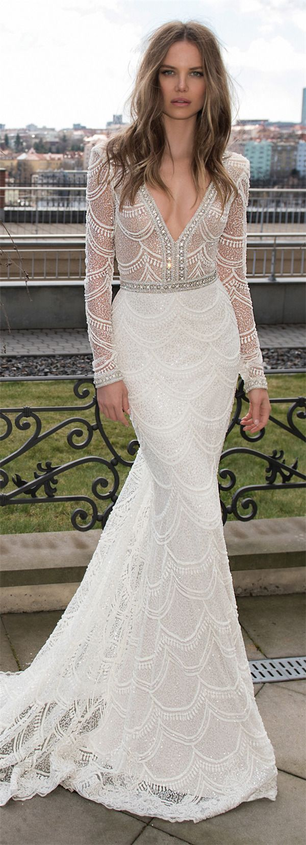 pearl encrusted wedding gown