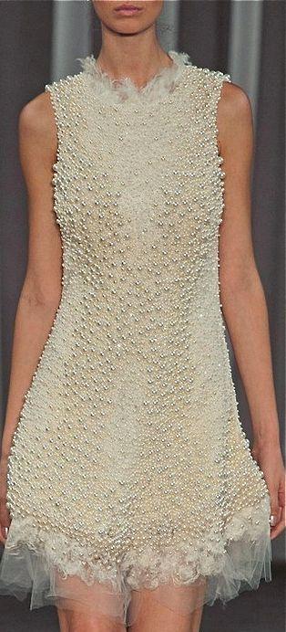 short pearl embellished wedding dress