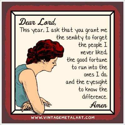 Dear Lord Senility Prayer Mini Vintage Tin Sign
