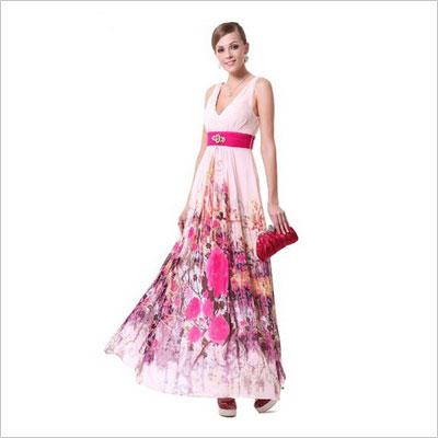 Floral Printed Chiffon V-neck Open Back Diamante Evening Dress