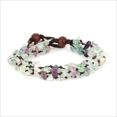 Purple and Green Fluorite Color Bead Bracelet
