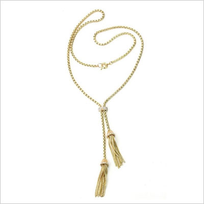 Vintage Sweater Long Chain Necklace Tassel Pendant Gold Plated