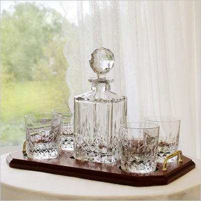 Personalized Irish Galway Crystal Square Whiskey Decanter & 4 Glasses