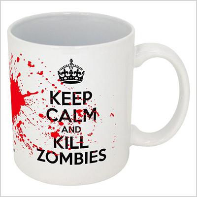 funny guy mugs keep calm and kill zombies