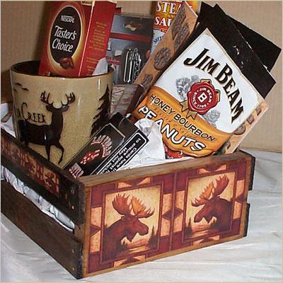 Wood Crate Gift Basket Coffee Mug Cookies