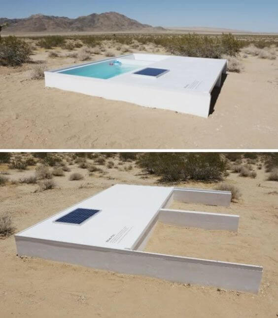 Sliding cover hidden pool desert