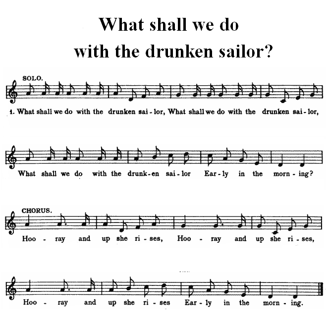 Drunken sailor sheet music for beginners