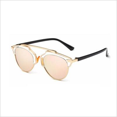 GAMT Fashion Metal Aviator Eyewear Flat Reflective Mirror Cateye Polarized Sunglasses
