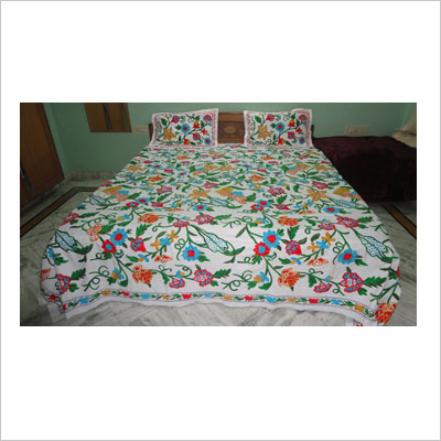 Multi colour embroidered king size bedspread