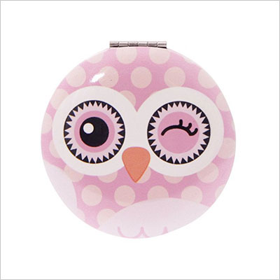 Owl Round Pink Compact Mirror by PK1
