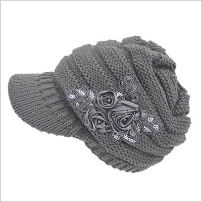 grey visor knit hat