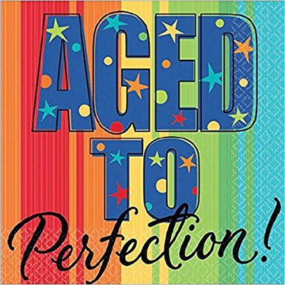 Armscan Aged to Perfection Birthday Party Rainbow and Stars Dinner Napkins Tableware