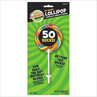 """Amscan Brightly Colored Lollipops with """"50 Sucks"""" Design, Multicolored"""