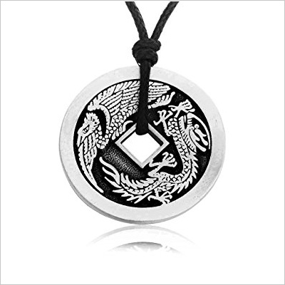 Dan's Jewelers Lucky Dragon Chinese Coin Pendant Necklace