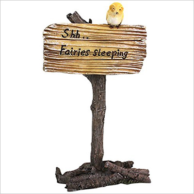 "Top Collection Miniature Fairy Garden and Terrarium ""Shh Fairies Sleeping"" Sign"