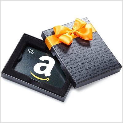 amazon gift card in a gift box