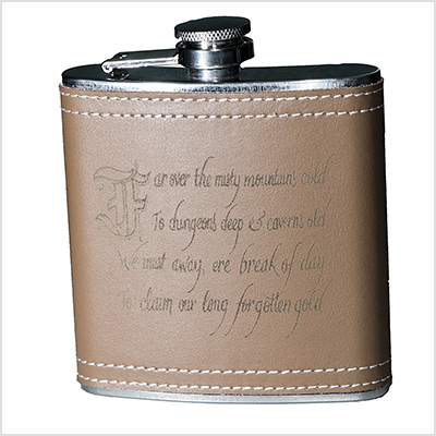 misty mountain leather flask