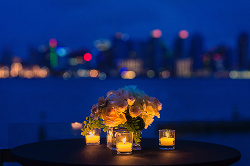candles and flowers on a table